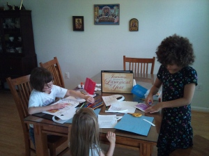 Rachel, Rebecca, & Hannah working on their frist Journaling Throughout the Liturgical Year entry.
